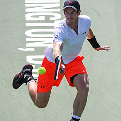 August 1, 2018 - Washington, D.C, U.S - ANDY MURRAY hits a backhand during his 2nd round match at the Citi Open at the Rock Creek Park Tennis Center in Washington, D.C. (Credit Image: © Kyle Gustafson via ZUMA Wire)