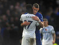 Football - 2018 / 2019 Premier League - Chelsea vs. Everton<br /> <br /> Ross Barkley of Chelsea embraces his old club mate, Gana Gueye after the match, at Stamford Bridge.<br /> <br /> COLORSPORT/ANDREW COWIE
