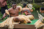 """A dance of Fiji in the Canoe Pageant, """"Rainbows of Paradise."""" The Polynesian Cultural Center (PCC) is a major theme park and living museum, in Laie on the northeast coast (Windward Side) of the island of Oahu, Hawaii, USA. The PCC first opened in 1963 as a way for students at the adjacent Church College of Hawaii (now Brigham Young University Hawaii) to earn money for their education and as a means to preserve and portray the cultures of the people of Polynesia. Performers demonstrate Polynesian arts and crafts within simulated tropical villages, covering Hawaii, Aotearoa (New Zealand), Fiji, Samoa, Tahiti, Tonga and the Marquesas Islands. The Rapa Nui (Easter Island) exhibit features seven hand-carved moai (stone statues). The PCC is run by the Church of Jesus Christ of Latter-day Saints (LDS Church). For this photo's licensing options, please inquire."""