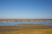 "Famous salt flats at Gruissan, Languedoc-Roussillon, France. This area is very well known for producing sea salt from it's salt fields or marshes on this coastline. Sea salt farms, with giant hills of salt - ""Camelles"", in differing shades of brown and white, and the flat ""fields"" of salt water."