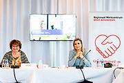"""AMSTERDAM, 4-12-2020,  UWV Amsterdam<br /> <br /> Koningin Maxima, lid van het Nederlands Comite voor ondernemerschap (Comité), heeft samen met SER-voorzitter Mariëtte Hamer een werkbezoek gebracht aan het Regionaal Werkcentrum Amsterdam (RWC) bij het UWV hoofdkantoor. Het bezoek richtte zich op de rol van het RWC bij het 'van werk naar werk' begeleiden van mensen die onder meer vanwege de coronacrisis werkloos zijn geraakt of dreigen te raken.<br /> <br /> Queen Maxima, member of the Dutch Committee for Entrepreneurship (Committee), together with SER chairman Mariëtte Hamer paid a working visit to the Regional Work Center Amsterdam (RWC) at the UWV head office. The visit focused on the role of the RWC in guiding people """"from work to work"""" who have become or are at risk of becoming unemployed due to, among other things, the corona crisis."""