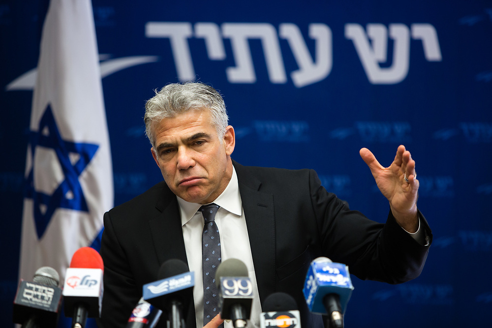 Head of the Yesh Atid party, Israeli lawmaker Yair Lapid is seen during a faction meeting at the Knesset, Israel's parliament in Jerusalem, on January 18, 2016.
