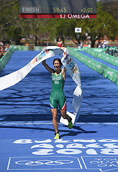 BUENOS AIRES, Oct. 8, 2018  Amber Schlebusch of South Africa reaches the finish line during the Women's Triathlon match at the 2018 Summer Youth Olympic Games in Buenos Aires, capital of Argentina, Oct. 7, 2018. Amber Schlebusch won the gold with 58 minutes 45 seconds. (Credit Image: © Li Jundong/Xinhua via ZUMA Wire)