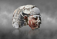 Ancient Egyptian statue head of a monarch, limestone, Middle Kingdom, mis 12th Dynasty, (1900-1850 BC), Qqw el-Kebir, tomb of Ibu. Egyptian Museum, Turin. Grey Background<br /> <br /> Since this statue head comes from the tomb of Ibu it is likely that they depict a powerful gosvenor, although the incsription is lost. It can be dated by its style which is close to the statues of Amenemhat II and Sesostris II. Schiaparelli excavations. Cat 4410 & 4414 .<br /> <br /> If you prefer to buy from our ALAMY PHOTO LIBRARY  Collection visit : https://www.alamy.com/portfolio/paul-williams-funkystock/ancient-egyptian-art-artefacts.html  . Type -   Turin   - into the LOWER SEARCH WITHIN GALLERY box. Refine search by adding background colour, subject etc<br /> <br /> Visit our ANCIENT WORLD PHOTO COLLECTIONS for more photos to download or buy as wall art prints https://funkystock.photoshelter.com/gallery-collection/Ancient-World-Art-Antiquities-Historic-Sites-Pictures-Images-of/C00006u26yqSkDOM