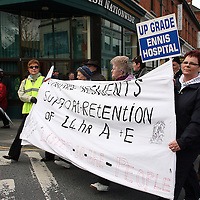 Mary Kelly, Peggy Molloy, Mary Roche and Della Hehir with their banner during the hospital protest rally in Ennis on Satruday.<br /> Photograph by Yvonne Vaughan