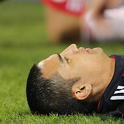 Tim Cahill, New York Red Bulls, warming up as a substitute during the New York Red Bulls Vs Houston Dynamo, Major League Soccer regular season match at Red Bull Arena, Harrison, New Jersey. USA. 4th October 2014. Photo Tim Clayton