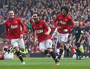 29.03.2014  Manchester, England. Manchester United's  Juan Mata celebrates scoring to make it 3-1  during the Premier League game between Manchester United and Aston Villa from Old Trafford