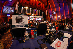 The Philadelphia Eagles Draft desk before the first round of the NFL Draft on April 26th 2012 at Radio City Music Hall in New York, New York. (AP Photo/Brian Garfinkel)
