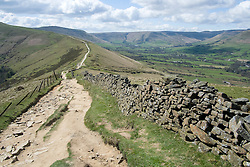 The Great Ridge walking from Losehill and Back Tor towards Mam Tor near Castleton in the Hope Valley <br /> <br />  19 April  2015<br />  Image © Paul David Drabble <br />  www.pauldaviddrabble.co.uk