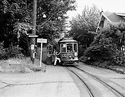 Y-490809-02.  Council Crest trolley on last run. Trolley 504 at private right of way near SW Talbot Road. August 9, 1949.