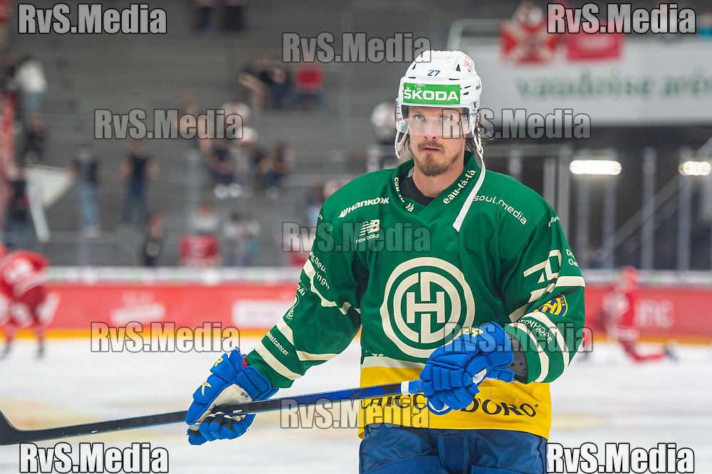 LAUSANNE, SWITZERLAND - SEPTEMBER 24: Magnus Nygren #27 of HC Davos warms up prior the Swiss National League game between Lausanne HC and HC Davos at Vaudoise Arena on September 24, 2021 in Lausanne, Switzerland. (Photo by Monika Majer/RvS.Media)