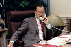 United States President George H.W. Bush speaks by telephone to President Mikhail Gorbachev of the Soviet Union following his call to Chancellor Helmut Kohl of Germany from the White House in Washington, DC on July 17, 1990<br /> Photo by Carol T. Powers / White House via CNP/ABACAPRESS.COM
