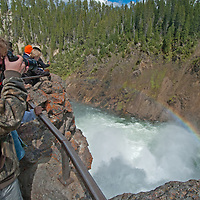 Tourists peer over the brink of Upper Yellowstone Falls in Yellowstone National Park, Wyoming.
