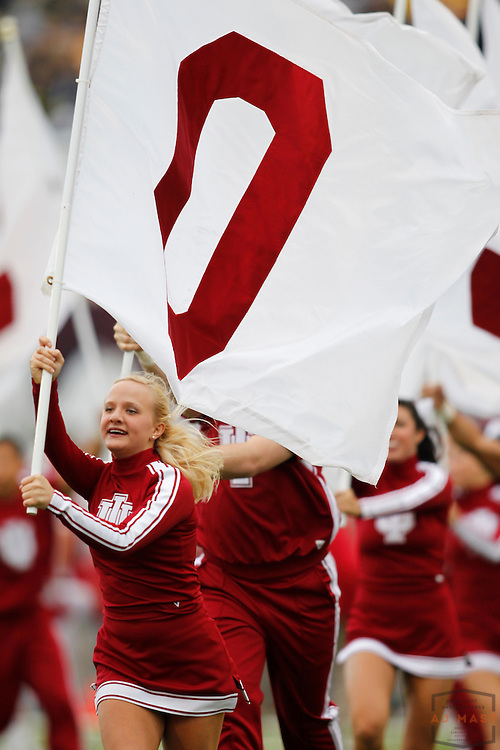 02 October 2010: An Indiana Cheerleader as the Indiana Hoosiers played the Michigan Wolverines in a college football game in Bloomington, Ind.