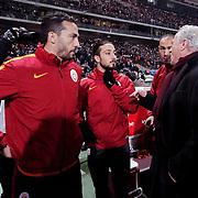 Galatasaray's headcoach Mustafa Denizli (R) during their Turkish Super League soccer derby match Besiktas between Galatasaray at the Ataturk Olimpiyat stadium in Istanbul Turkey on Monday, 14 December 2015. Photo by Aykut AKICI/TURKPIX