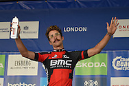 Taylor Phinney of the United States and BMC Racing Team with the Overall Combatively award at the Tour of Britain 2016 stage 8 , London, United Kingdom on 11 September 2016. Photo by Martin Cole.