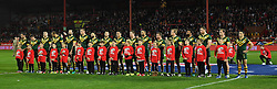 The Australian team line up before the Ladbrokes Four Nations match at the KC Lightstream Stadium, Hull. PRESS ASSOCIATION Photo. Picture date: Friday October 28, 2016. See PA story RUGBYL Australia. Photo credit should read: Dave Howarth/PA Wire. RESTRICTIONS: Editorial use only. No commercial use. No false commercial association. No video emulation. No manipulation of images.