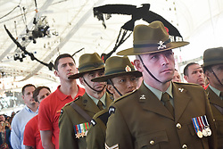 April 25, 2017 - Auckland, New Zealand - New Zealand infantry uniforms is dressed by the military force to honour the fallen heroes during the World Masters Games 2017 as part of Anzac Day commemoration at Queen's Wharf in Auckland. (Credit Image: © Shirley Kwok/Pacific Press via ZUMA Wire)