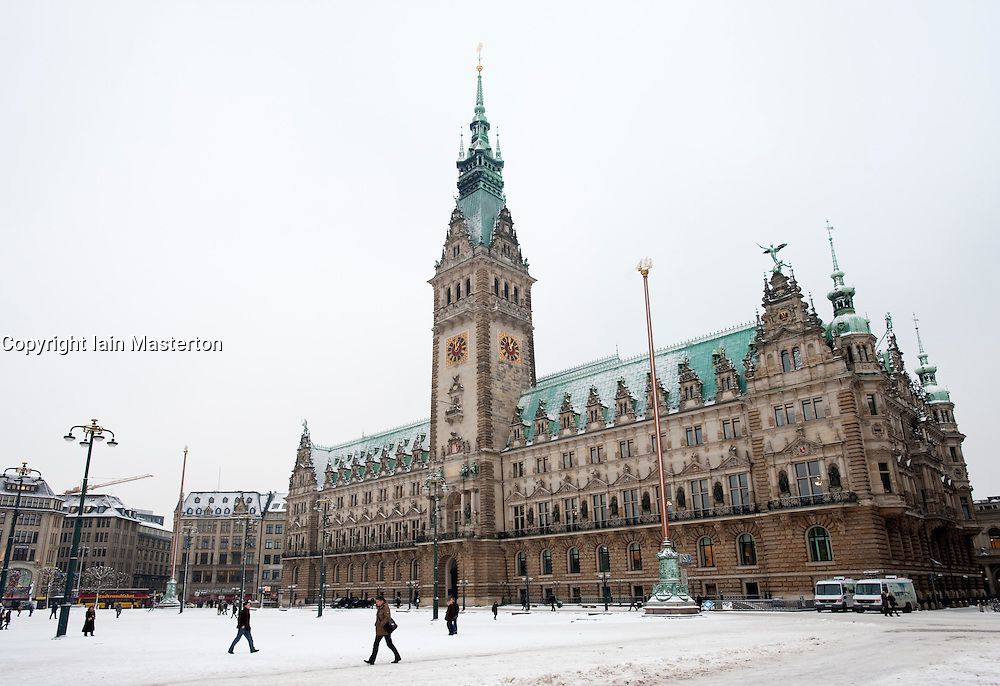 Historic Rathaus or Town Hall building in centre of Hamburg in Germany