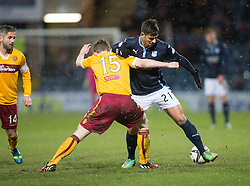 Motherwell's Mark O'Brien  and Dundee's Luka Tankulic. <br /> Dundee 4 v 1 Motherwell, SPFL Premiership played 10/1/2015 at Dundee's home ground Dens Park.