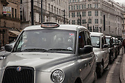 Taxi line in the city center of Manchester, UK.