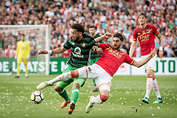 (L-R) Tonny Vilhena of Feyenoord, Alireza Jahanbakhsh of AZ, Wout Weghorst of AZ during the Dutch Toto KNVB Cup Final match between AZ Alkmaar and Feyenoord on April 22, 2018 at the Kuip stadium in Rotterdam, The Netherlands.