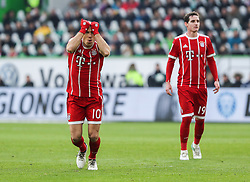 WOLFSBURG, Feb. 18, 2018  Bayern Munich's Arjen Robben (L) reacts after missing a score during a German Bundesliga match between VfL Wolfsburg and Bayern Munich, in Wolfsburg, Germany, on Feb. 17, 2018. Bayern Munich won 2-1. (Credit Image: © Shan Yuqi/Xinhua via ZUMA Wire)