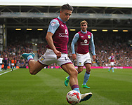 Jack Grealish of Aston Villa sends in a cross during the Sky Bet Championship match at Craven Cottage, London<br /> Picture by Richard Brooks/Focus Images Ltd 07947656233<br /> 17/04/2017