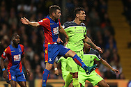 James McArthur of Crystal Palace heads the ball to score his sides 2nd goal to make it 2-2. Premier League match, Crystal Palace v Liverpool at Selhurst Park in London on Saturday 29th October 2016.<br /> pic by John Patrick Fletcher, Andrew Orchard sports photography.