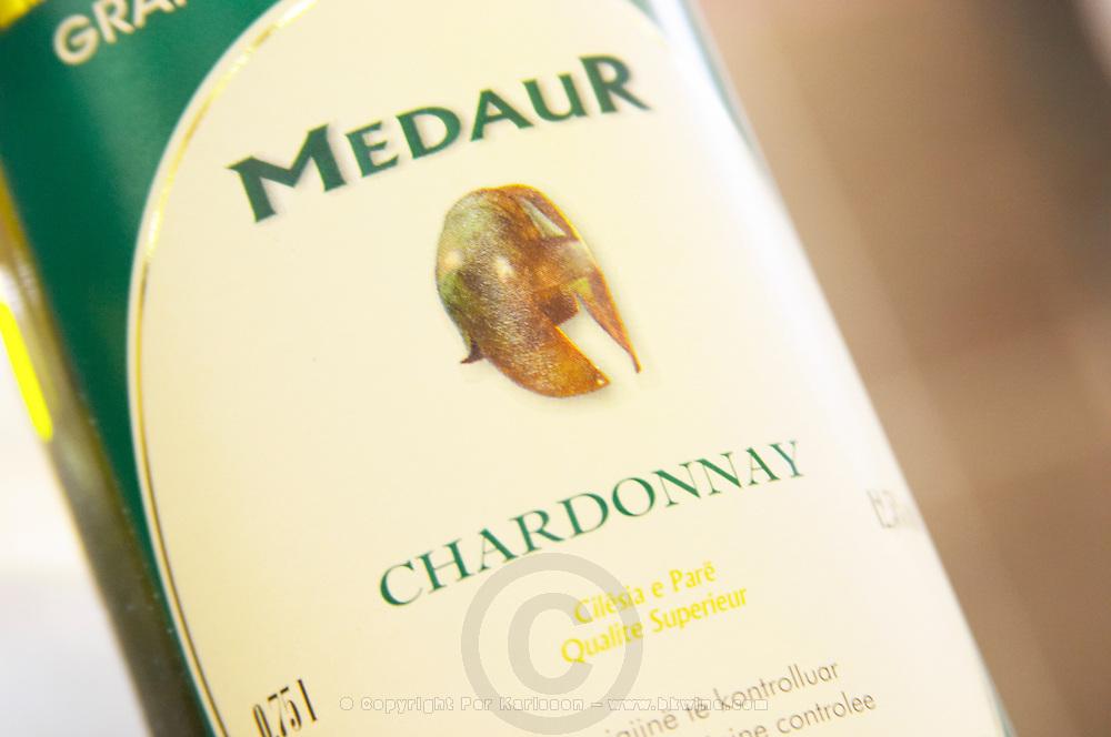 Bottle, detail of label, Medaur Cuvee de l'Amitiee Grand Vin d'Albanie Chardonnay Vere e Kuqe Kantina Miqesia Koplik Kantina Miqesia or Medaur winery, Koplik. Albania, Balkan, Europe.