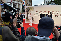 © Licensed to London News Pictures. 20/09/2017. London, UK. Actress MARGOT ROBBIE attends the world film premiere of Goodbye Christopher Robin in Leicester Square. Photo credit: Ray Tang/LNP