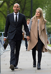 © London News Pictures. 10/05/2015. Labour Party  MP Chuka Umunna arriving for the Marr Show in London with his partner Alice Sullivan. Photo credit: Ben Cawthra/LNP