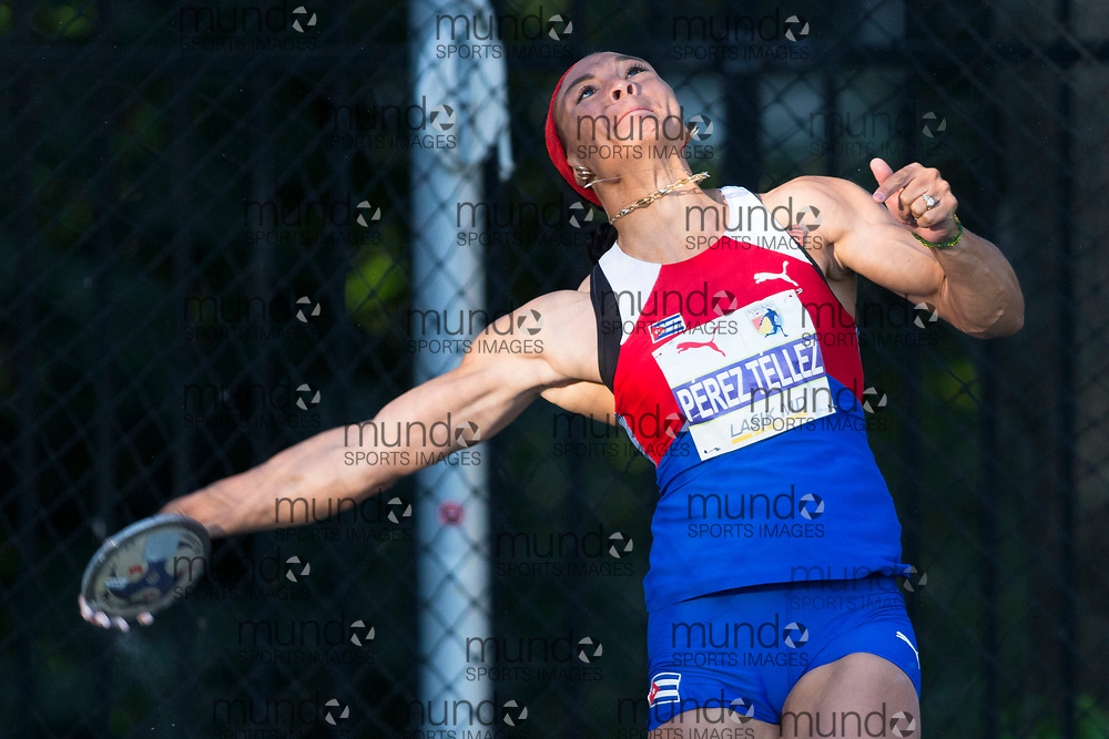 Toronto, ON -- 10 August 2018: Yaime Perez Tellez (Cuba), discus gold new championship record of 61.97m at the 2018 North America, Central America, and Caribbean Athletics Association (NACAC) Track and Field Championships held at Varsity Stadium, Toronto, Canada. (Photo by Sean Burges / Mundo Sport Images).