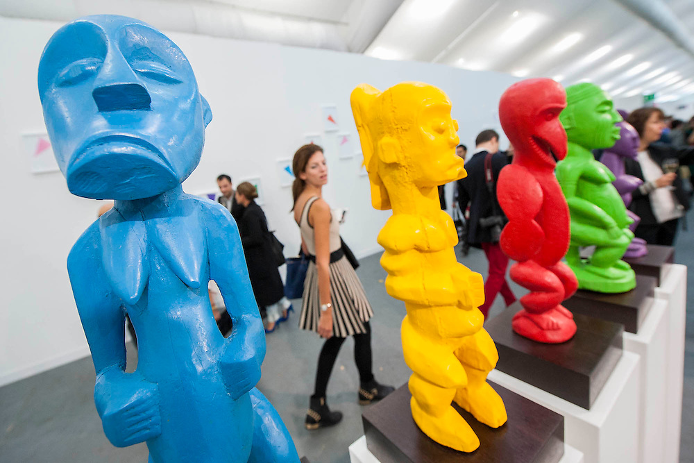 The Frieze Art Fair opens with comtemporary work from hundreds of artists including Jeff Koons and Damien Hirst. Here Made in Africa (Assembled in China) by Djordje Ozbolt.  Regents Park, London.