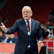 Anadolu Efes's coach Dusan Ivkovic during their Turkish Basketball League match Anadolu Efes between Torku Konyaspor Basket at Abdi Ipekci Arena in Istanbul Turkey on Saturday 11 April 2015. Photo by Aykut AKICI/TURKPIX