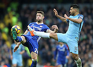 Gary Cahill of Chelsea tussles with Sergio Aguero of Manchester City during the Premier League match at the Etihad Stadium, Manchester. Picture date: December 3rd, 2016. Pic Simon Bellis/Sportimage
