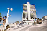 Israel, Tel Aviv, the Renaissance Hotel on the beach front. The promenade in the foreground