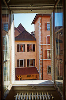 View of colorful, historic buildngs from my hotel room, Auberge du Lyonnais Hôtel/Restaurant, Old Town Annecy, France