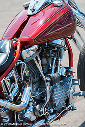 Les Covington's custom Panhead in the Rats Hole show at the Sturgis Buffalo Chip's Crossroads area by their west gate during the annual Black Hills Motorcycle Rally. SD, USA. August 7, 2014.  Photography ©2014 Michael Lichter.