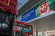 On the first day of his official 3-day visit to London, the face of Saudi Crown Prince Mohammed bin Salman appears on a large billboard at the entrance of the Hyde Park Corner underpass, on 7th March 2018, in London England. Industry sources said the Saudis could be spending close to £1m on the city-wide campaign, which includes dozens of prime poster sites around London and newspaper ads. He is bringing change to Saudi Arabia, the ads say, with a large photo of Crown Prince Mohammed bin Salman and the hashtag #ANewSaudiArabia.