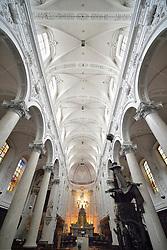 THEMENBILD - Brüssel ist die Haupt- und Residenzstadt des Königreichs Belgien, Sitz der Institutionen der Flämischen und Französischen Gemeinschaft Belgiens sowie von Flandern und Hauptort der Region Brüssel-Hauptstadt. Zudem stellt die Stadt den Hauptsitz der Europäischen Union sowie den Sitz der NATO, ferner den des ständigen Sekretariats der Benelux-Länder, der Westeuropäischen Union und der EUROCONTROL, hier im Bild Innenaufnahme Kirche Chapelle Notre Dame du Finist¬ère aufgenommen am 28. Juli 2013 // THEMES PICTURE - Brussels is the capital and residence city of the Kingdom of Belgium, the seat of the institutions of the Flemish and French Community of Belgium and the capital of Flanders and Brussels-Capital Region. In addition, the city is the headquarters of the European Union, and the headquarters of NATO, also the Permanent Secretariat of the Benelux countries, the Western European Union and EUROCONTROL pictured on 28th of July 2013. EXPA Pictures © 2013, PhotoCredit: EXPA/ Eibner/ Michael Weber<br /> <br /> ***** ATTENTION - OUT OF GER *****