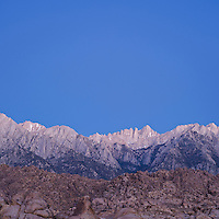 Mount Whitney and Sierra Nevada Mountains viewed from Alabama HIlls, Owen's Valley, California