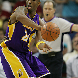 23 December 2008: Los Angeles Lakers guard Kobe Bryant (24) passes the ball during a 100-87 loss by the New Orleans Hornets to the Los Angeles Lakers at the New Orleans Arena in New Orleans, LA. .