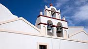 Low angle view of the Ekklisia (church) Isodia Theotokou in Oia, Santorini, Greece