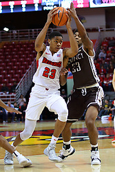 22 November 2017:  De'Andre Alexander defends William Tinsley during a College mens basketball game between the Quincy Hawks and Illinois State Redbirds in  Redbird Arena, Normal IL