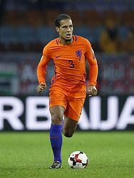 Virgil van Dijk of Holland during the FIFA World Cup 2018 qualifying match between Belarus and Netherlands on October 07, 2017 at Borisov Arena in Borisov,  Belarus