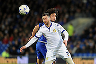 Leeds United's Mirco Antenucci (7) is challenged by Cardiff City's Fabio Da Silva. Skybet football league championship match, Cardiff city v Leeds Utd at the Cardiff city stadium in Cardiff, South Wales on Tuesday 8th March 2016.<br /> pic by Carl Robertson, Andrew Orchard sports photography.