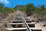 Railroad tracks leading up the Koko Crater hiking trail in Hawaii Kai, Hawaii.