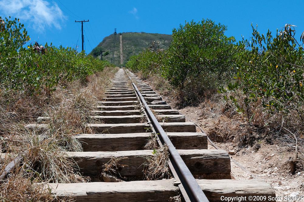 Railroad tracks leading up the Koko Crater hiking trail in Hawaii Kai, Hawaii.
