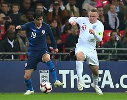 November 15, 2018 - London, United Kingdom - L-R Kenny Saief of USA  and England's Wayne Rooney.during the friendly soccer match between England and USA at the Wembley Stadium in London, England, on 15 November 2018. (Credit Image: © Action Foto Sport/NurPhoto via ZUMA Press)